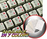 THAI KEYBOARD STICKERS WITH RED LETTERING ON TRANSPARENT BACKGROUND FOR DESKTOP, LAPTOP AND NOTEBOOK
