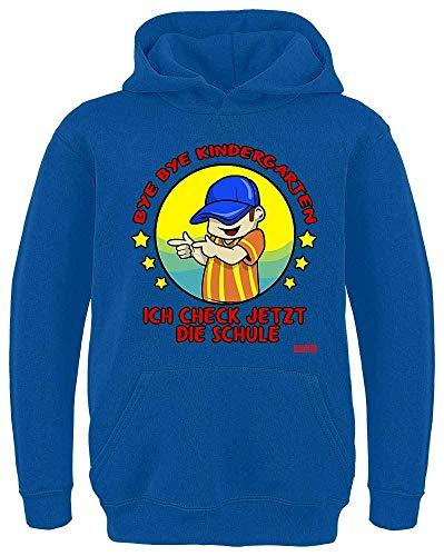 HARIZ Kinder Hoodie Bye Bye Kindergarten Checke Die Schule Mädchen Einschulung Plus Geschenkkarte Royal Blau 140/9-11 Jahre