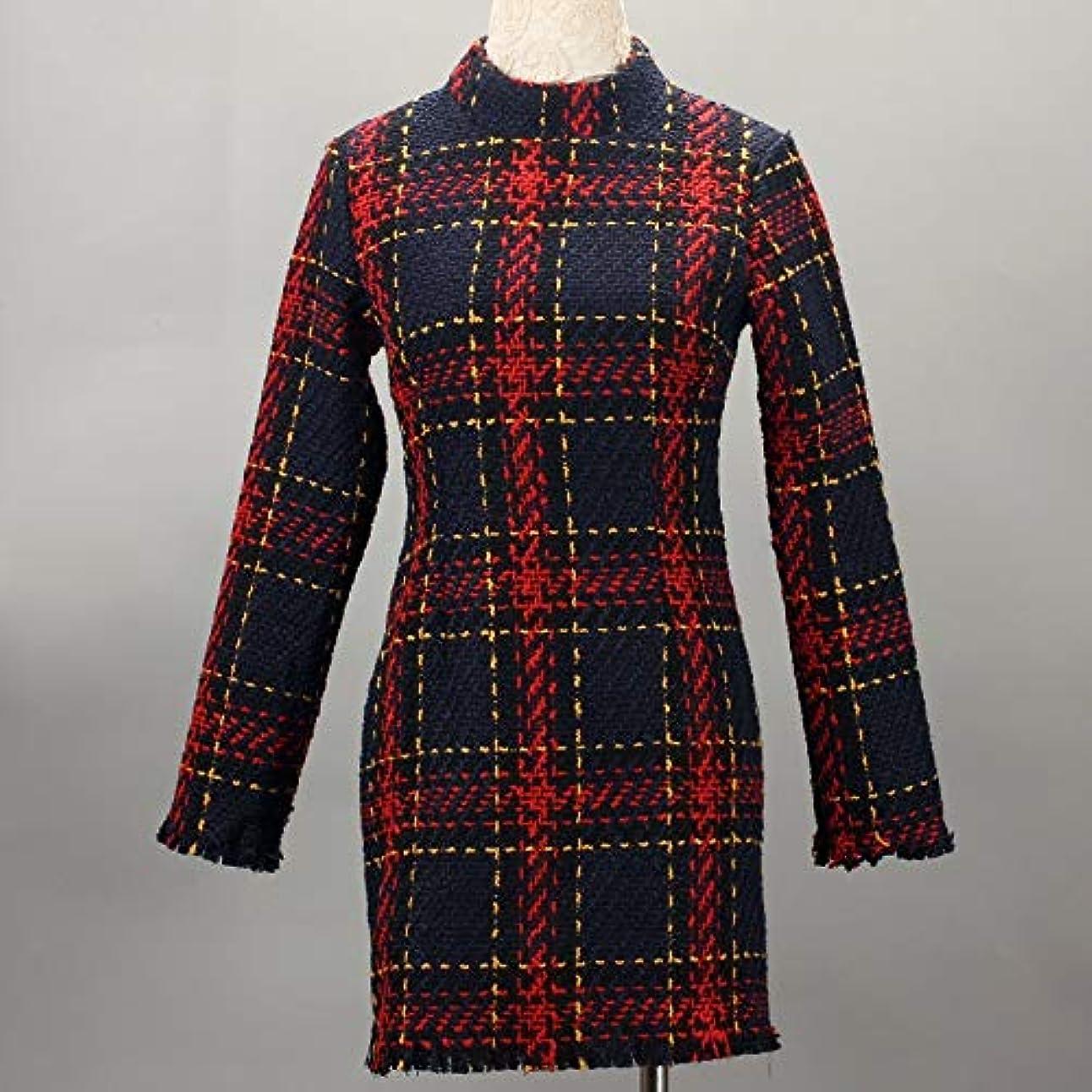 奇妙な滞在大使Onderroa - ファッション冬のドレスの女性は、ストライプ長袖スリムスキニーセクシーなミニボディコンヴィンテージvestidosドレスの女性を印刷PLAID
