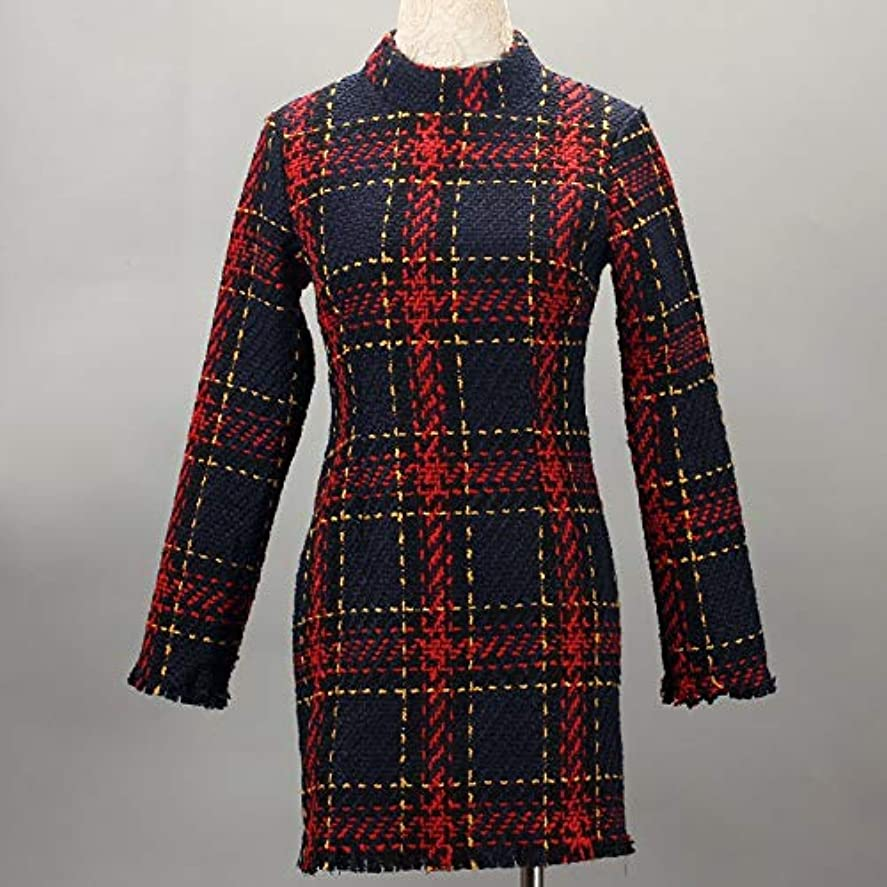ペネロペ強い一節Onderroa - ファッション冬のドレスの女性は、ストライプ長袖スリムスキニーセクシーなミニボディコンヴィンテージvestidosドレスの女性を印刷PLAID