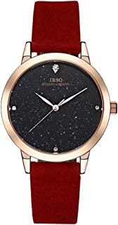 Tayhot Women Quartz Analog Red Leather Strap Wrist Watch Lady Stainless Steel Rose Gold Crystal Simple Design Elegant Fashion Casual Business Dress Watch