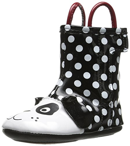 Robeez Pepper Rain Boot (Infant), Black/White, 3-6 Months M US Infant