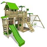 FATMOOSE Aire de jeux Portique bois PacificPearl avec balançoire et toboggan vert pomme, Maison enfant exterieur avec bac à sable, échelle d'escalade & accessoires de jeux