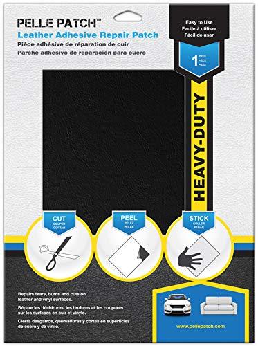 Pelle Patch - Toppa Adesivo per Riparare Pelle e Vinile - 25 Colori Disponibili - Heavy-Duty 20cm x 28cm - Nero