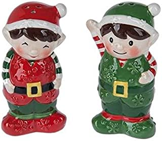 Santas Little Red and Green Elf Helpers Salt and Pepper Shakers
