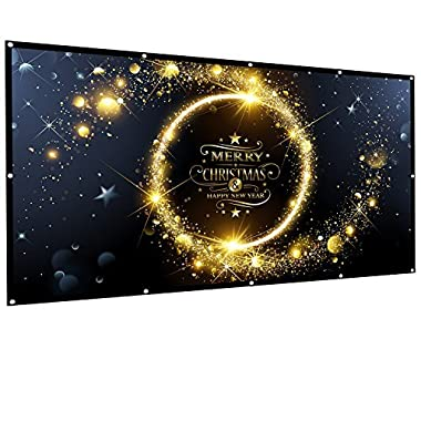 Owlenz 100 inch Projection Screen 16:9 HD Foldable Anti-crease Portable Projector Movies Screen for Home Theater Outdoor Indoor Support Double Sided Projection, 2 lbs Only
