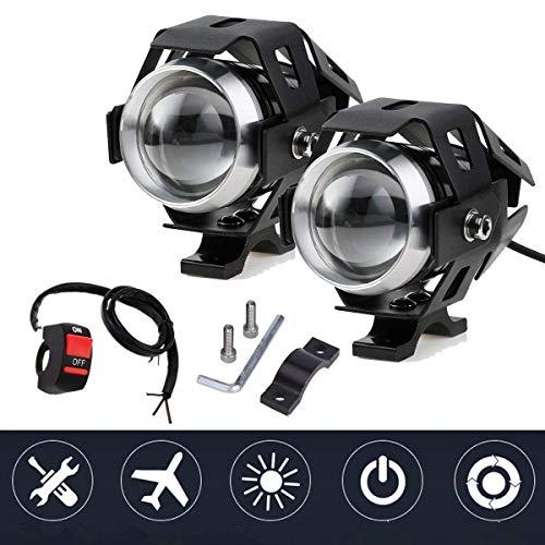 Ventdest Fari Moto, 2 * U5 Cree LED Faretti Frontali, 3000LM 6500K Interruttore Universale a 3 Pulsanti, Fanale Lampada Universale Luci Antinebbia 125W