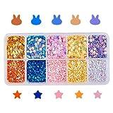 OLYCRAFT 77.5g Glitter Lentejuelas Copos en Forma de Conejito Estrella de 5 Colores Brillos para Manualidades de Resina Epoxi, Maquillaje, Artes de Uñas, Decoraciones para el Cuerpo