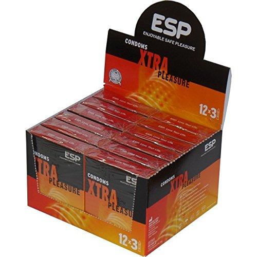 ESP Xtra Pleasure, 12x3 veganistische condooms met ribbels en nopjes, stimulerend, speciale aanbieding