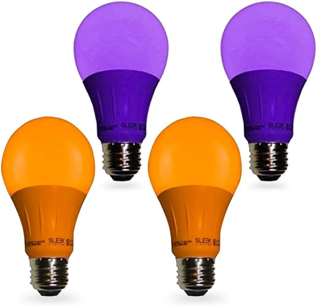 Sleeklighting LED 品質検査済 A19 2 Orange and Purple 120 Vol Bulbs Light OUTLET SALE
