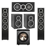 Elac 5.1 System with 2 Debut F5 Floorstanding Speakers, 1 Debut C5 Center Speaker, 2 Debut B5 Bookshelf Speakers, 1 BIC/Acoustech Platinum Series PL-200 Subwoofer