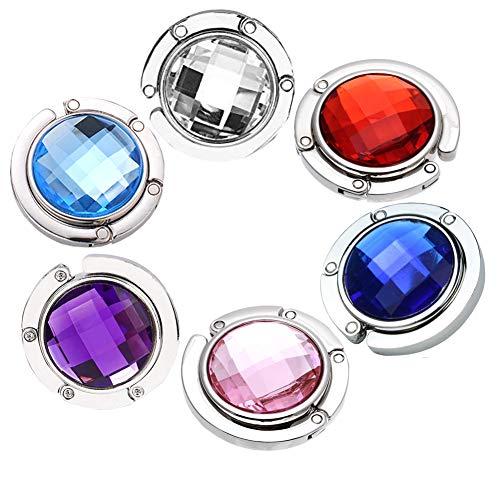 6 Ganchos para Monedero, Colorido Diamante Bolsa Plegable Bolso de Mano colgadores de Mesa Soporte Ganchos para Bolsos Mesas Gancho Plegable para Purse Hook