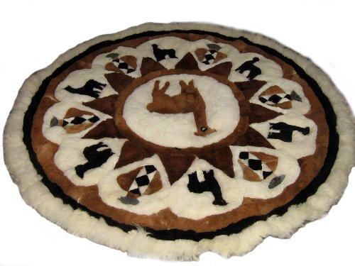 Peru Alpacaandmore grande peruano de alpaca de la piel de la alfombra de alpaca redonda de diseño 170 cm