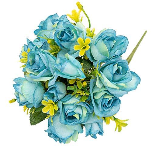 SSTony Sztuczne kwiaty, 15 główek, małe róże, sztuczne kwiaty, bukiet kwiatów, jedwab, dekoracja hotelowa, balkon, wesele, domowa aranżacja stołu, kolor niebieski