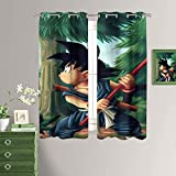 MRFSY Dragon Ball Japan Anime Goku Cortinas para dormitorio, tratamiento de ventana, aislamiento térmico, ojales lisos, cortinas opacas para sala de estar 106 x 150 cm