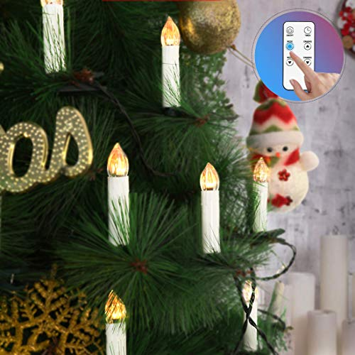 VIVOHOME 50Pcs Mini Flameless Clip-on Electric Christmas Tree LED Candle Indoor String Lights with Remote Control