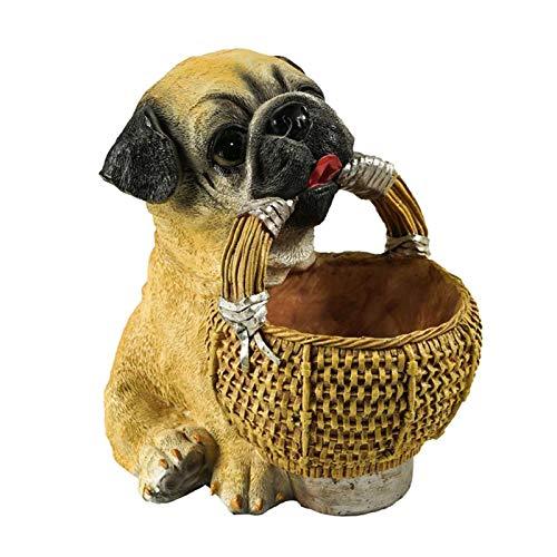 Baoblaze Bandeja de Almacenamiento de mesita de Noche de Escultura de Resina, Cesta de Caja de Joyas, Centro de Mesa para decoración del hogar - Pug