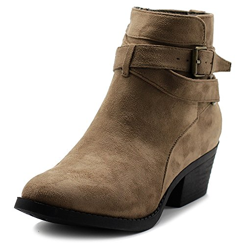 Ollio Women's Shoes Faux Suede Buckle Straps Stacked Heel Ankle Boots TWB0104 (10 B(M) US, Taupe)