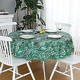 Dreaming Casa - Mantel para mesa redonda, algodón resistente, antimanchas, lona estampada, diseño de hoja de plátano, mesa de comedor, pícnic, fiesta, jardín, fácil de lavar, 180 x 180 cm, verde