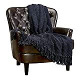 Chanasya Textured Knitted Super Soft Throw Blanket with Tassels - Warm Fluffy Cozy Plush Knit - for Couch Bed Sofa Living Room Framhouse Boho Accent Decor (50x65 Inches) Black Blue Blanket