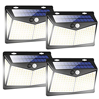 Solar Lights Outdoors 208 LED/3 Modes, Security Motion Sensor Night Lights, Wire-Free, IP65 Waterproof, Solar LED Light for Garden, Fence, Patio, Garage and Stairs (4 Pack)