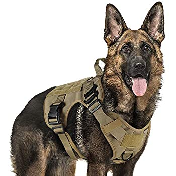 rabbitgoo Tactical Dog Harness for Large Dogs Military Dog Harness with Handle No-Pull Service Dog Vest with Molle & Loop Panels Adjustable Dog Vest Harness for Training Hunting Walking Tan L