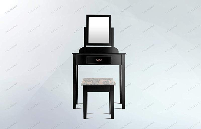 COLIBROX Makeup Desk Vanity Dressing Table Set W Square Mirror Stool 1 Large Drawer Black Made Of Solid Wood Plus MDF Durable And Sturdy Padded With Soft Cushioning Is Comfortable To Sit