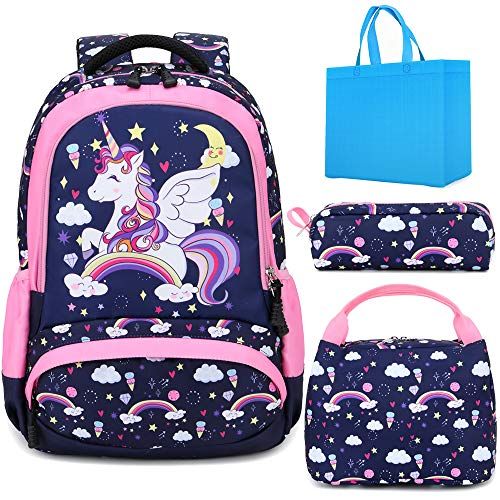 Unicorn School Backpack for Girls Cartoon Backpack for Kids School Bag 3pcs Sets with Lunch and Pencil Bag