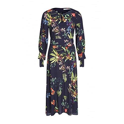 Oui Long Patterned Dress - 61364 8 Navy