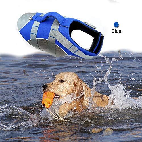 Wave Rider's Reflective Dog LifeJacket, Super Buoyancy EVA Lining Adjustable Dog Safety Vest (Large, Blue)