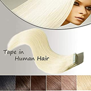 Tape in Human Hair Extensions Platinum Blonde 16 inch 20pcs 50g Long Straight Remy Hair Double Sided Tape on(16'' #60)+10pcs Free Tapes