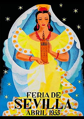 Viodenl Cartel de metal con diseño de arte nostálgico 1955 Feria De Sevilla España decoración de pared Cafés Pubs Cocina Cartel de viaje 20 x 30 cm