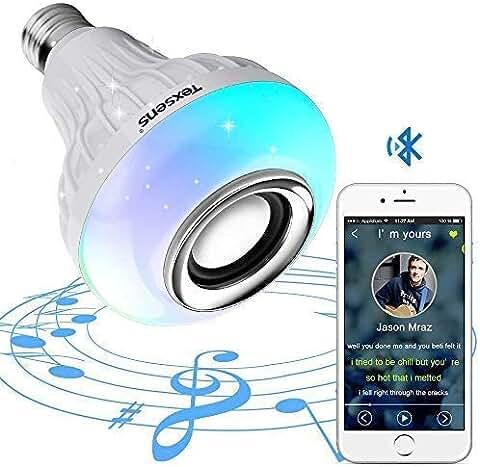 Texsens 12-watt E26 RGB LED Light Bulb with Bluetooth Speaker