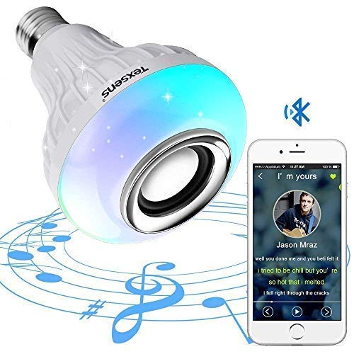 Texsens Bluetooth Light Bulb Speaker Generation II Smart LED Music Lamp with with Updated Remote Control