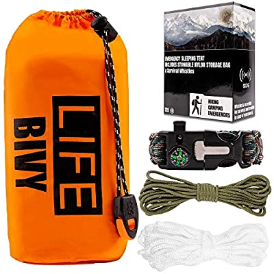 Emergency Sleeping Tent Survival Kit - Thermal Lightweight Waterproof Sleeping Bag Portable Gear Shelter Bivy with Heat Retention Loud Whistle 20 feet of 550 Paracord for Outdoor Hiking Camping Woods
