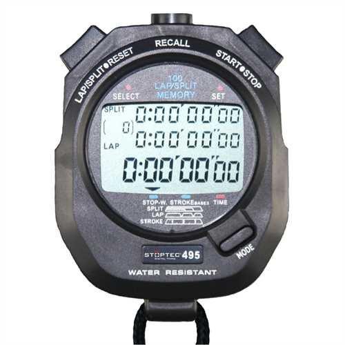 Stoptec Stoppuhr 495 (100 Memory | Schlagzahlmessung) - Digital Profi Stoppuhr mit Druckpunktmechanik | einfacher Batteriewechsel | spritzwasserfest