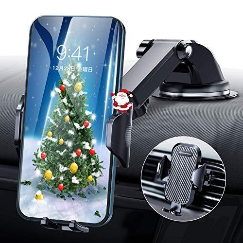【令和進化版】DesertWest 車載ホルダー 片手操作 2in1 スマホホルダー 粘着ゲル吸盤&エアコン吹き出し口式兼用 スマホスタンド 車 携帯ホルダー iphone 車載ホルダー 取り付け簡単 360度回転 伸縮アーム ワンタッチ 手帳型ケース対応 自由調節/日本語説明書付き/4-7インチ全機種対応 iPhone/Samsung/Sony/LG/Huawei など (ブラック)