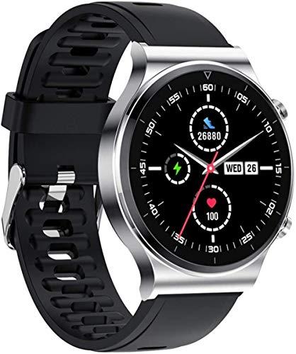 Reloj inteligente para hombre IP68, impermeable, pantalla táctil completa, deportivo, fitness, cara personalizada para Android IOS (color: sílice pistola) y sílice plateada