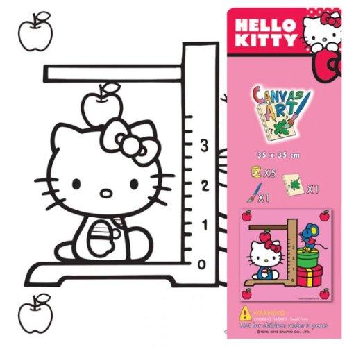Hello Kitty Ausmalbilder auf Leinwand Motiv wählbar Keilrahmen inkl. Farbe und Pinsel, Farbe:Grün