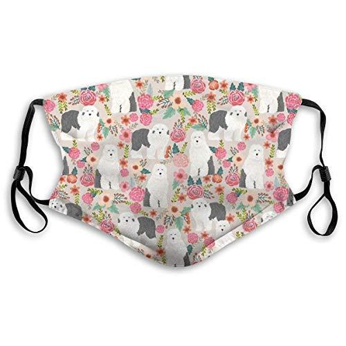 Staubmasken Vollgesichtsmaske Old English Sheepdog Floral Hunderasse Pet Art Pattern Geschenke Skimaske, Staubmaske, Hut Hals Gamasche Kopfbedeckung Mundmasken