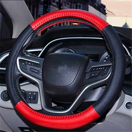 Lederen bekleding van microvezel, voor auto, stuur van leer, universele maat, 15 inch, ademend, antislip, universeel