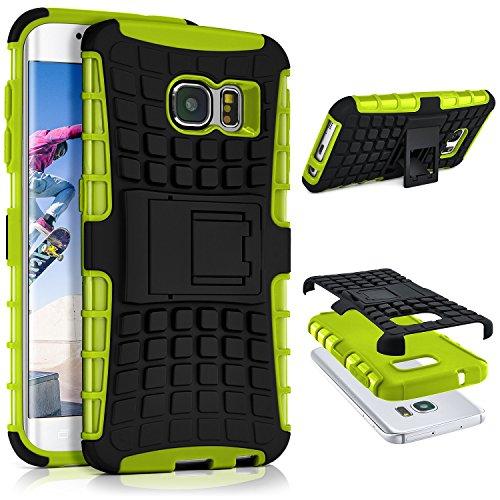 ONEFLOW® Tank Case Samsung Galaxy S6 Edge Outdoor Hülle | Panzer Handyhülle mit Ständer - 360 Grad Handy Schutz aus Silikon & Kunststoff, Grün