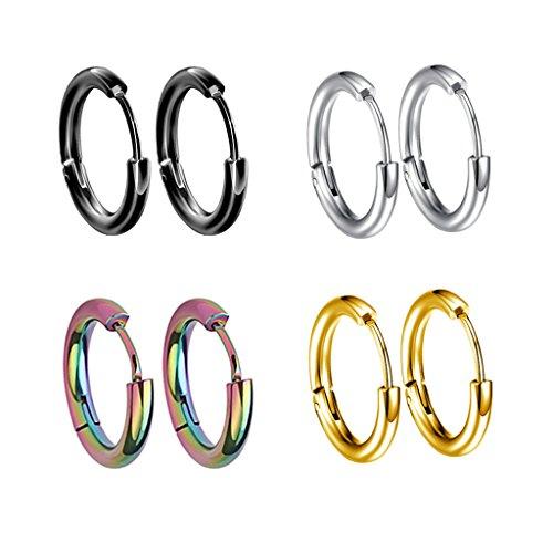 4 pares de pendientes de aro, pendientes de acero inoxidable 4 colores...