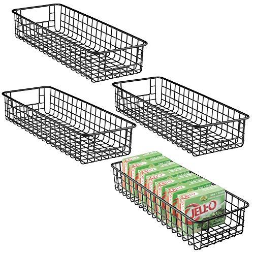 mDesign Juego de 4 cajas de almacenaje multiusos – Resistentes cestas organizadoras en malla de metal y con asas – Cestos metálicos compactos para cocina, despensa y otras estancias – negro mate