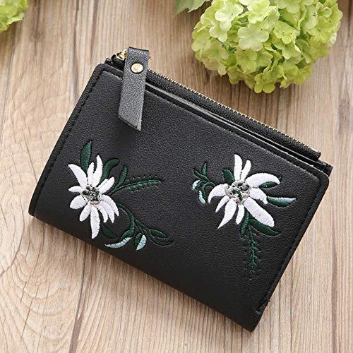 Boner PU lederen dames portemonnee rits bloemen geborduurd dames portemonnees tas portemonnee kaarthouder portefeuilles, zwart