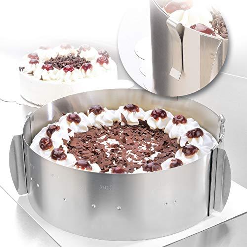 Anello per torte – Delle creazioni di torte bellisime per tutte le occasioni – anello per torte d'acciaio inossidabile regolabile e fissato con supporte – 8,5 cm d'altezza – Made in Germany
