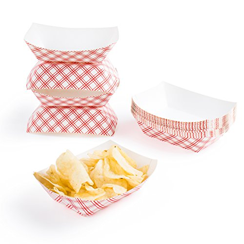 Disposable Paper Food Tray for Carnivals, Fairs, Festivals, and Picnics. Holds Nachos, Fries, Hot Corn Dogs, and More! - 2.5-Pound, 50-Pack