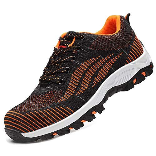 SUADEEX Arbeitsschuhe Damen Herren Sicherheitsschuhe s3 Leicht Stahlkappen Sportlich Schuhe, 02-orange, 42 EU