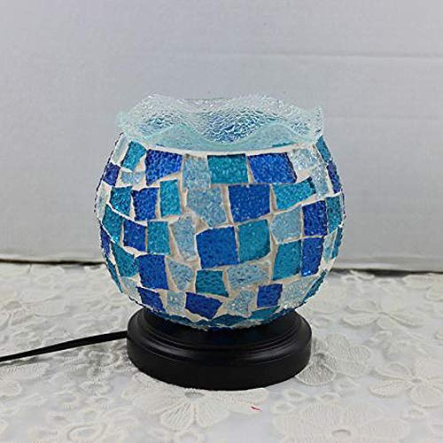 Tiffany Mosaico Turco Marroquí Lámpara de mesa de atenuación retro mediterránea enchufable, mesilla de noche, azul mediterráneo