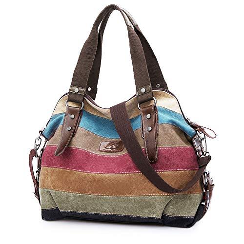 SNUG STAR Handtasche Damen,Canvas Tasche Damentasche Multi-Color-Striped Umhängetasche Damen Groß Schultasche Canvas Shopper Tasch Muttertag Geschenk Hobo Bag (C stylen)